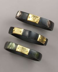 Ashley Pittman | Brown Square Dark Horn Bangles, Set Of Three | Lyst