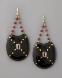 Ashley Pittman - Black Kombe Drop Earrings, Dark Horn - Lyst
