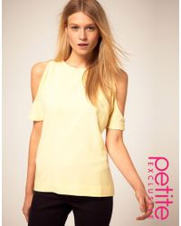 ASOS Collection | Yellow Asos Petite Exclusive Top with Cut Out Shoulder Detail | Lyst