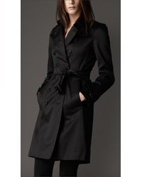 Burberry | Black Cotton Sateen Trench Coat | Lyst