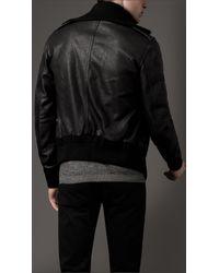 Burberry - Black Leather Bomber Jacket for Men - Lyst