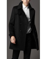 Burberry - Black Wool Trench Coat for Men - Lyst
