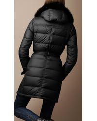 Burberry Brit - Black Fur Trim Puffer Jacket - Lyst