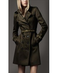 Burberry - Green Suede Trim Trench Coat - Lyst