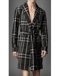 Burberry | Gray Beat Check Cotton Robe for Men | Lyst