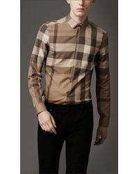 Burberry | Brown Slim Fit Tonal Check Shirt for Men | Lyst