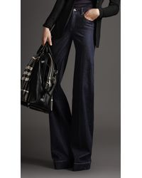 Burberry | Blue High Waist Wide Leg Jeans | Lyst