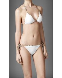 Burberry | White Check Trim Bikini | Lyst