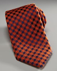 Charvet | Houndstooth Tie, Orange/blue for Men | Lyst