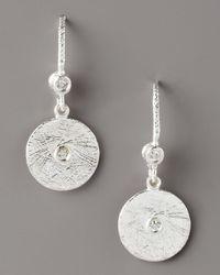 Dominique Cohen - Metallic Textured Diamond Disc Earrings - Lyst