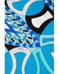 Emilio Pucci | Blue Ruffled Printed Silk-chiffon Mini Dress | Lyst