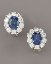 Fantasia by Deserio | Blue Sapphire Button Earrings | Lyst
