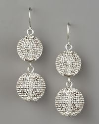 Fragments | Metallic Pave Ball Drop Earrings, Silvertone | Lyst