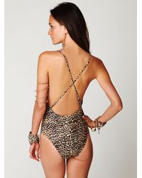 Free People - Multicolor Embroidered Twist Cheetah Onepiece - Lyst