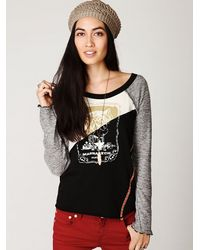 Free People | Gray Long Sleeve Mixed Graphic Baseball Tee | Lyst