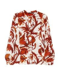 Gucci - Red Printed Silk Crepe De Chine Blouse - Lyst