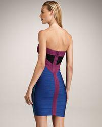 Hervé Léger - Blue Strapless Colorblock Bandage Dress - Lyst
