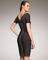 Hervé Léger | Brown Square-neck Bandage Dress | Lyst