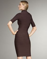 Hervé Léger - Brown Front-zip Turtleneck Bandage Dress - Lyst