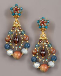 Jose & Maria Barrera - Multicolor Multi-stone Teardrop Earrings - Lyst