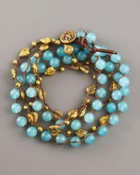 Love Heals | Blue Aqua Jade & Bronze Wrap Bracelet | Lyst