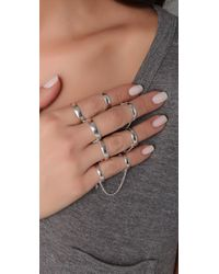 Made Her Think - Metallic Double Band Chain Ring Glove - Lyst