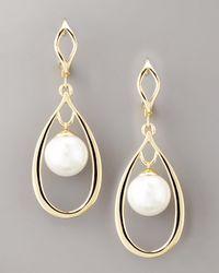 Majorica - White Gold & Pearl Drop Earrings - Lyst