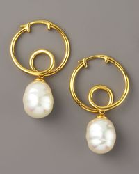 Majorica - Metallic Gold Hoop Pearl Earrings - Lyst