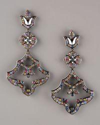 M.c.l  Matthew Campbell Laurenza - Black Pave Flower Chandelier Earrings - Lyst