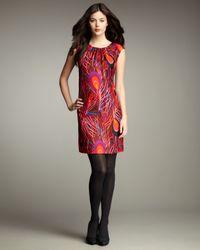 MILLY - Multicolor Ariana Printed Shirred Sheath Dress - Lyst