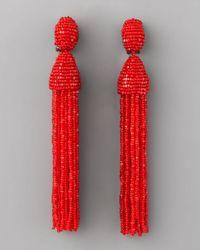 Oscar de la Renta - Beaded Tassel Earrings, Red - Lyst