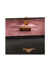 Prada - Black Satin Box Clutch - Lyst