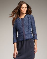 Rebecca Taylor | Blue Metallic Tweed Peplum Jacket | Lyst