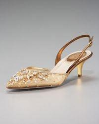 Rene Caovilla | Metallic Jeweled Slingback Pump, Low-heel | Lyst