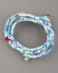 Same Sky - Blue Beaded Woven Wrap Bracelet - Lyst