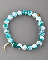 Sydney Evan - Blue Green Agate & Pave Diamond Bracelet - Lyst