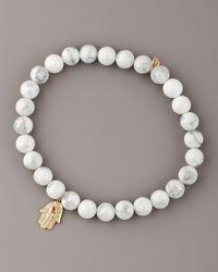 Sydney Evan - White Howlite & Diamond Hamsa Bracelet - Lyst