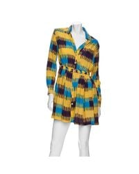 Thakoon Addition | Blue Gathered Waist Ikat Print Shirt Dress | Lyst