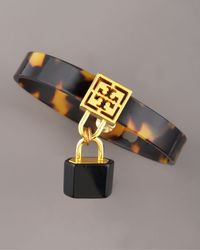 Tory Burch | Brown Lock-charm Tortoise Cuff | Lyst
