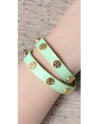 Tory Burch - Green Tory Double Wrap Patent Logo Bracelet - Lyst