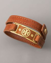 Tory Burch | Logo Wrap Bracelet, Brown | Lyst