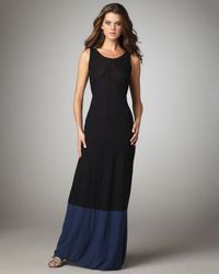Vince | Black Colorblock Maxi Dress | Lyst
