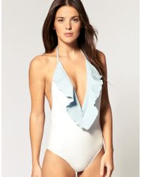 Wildfox | Blue One Piece Swim Suit with Frill Collar | Lyst