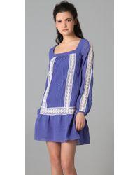 Alice By Temperley   Blue Esmeralda Pleated Chiffon and Lace Dress   Lyst