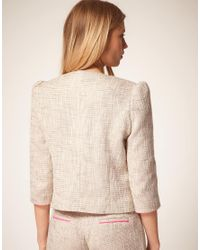ASOS Collection - Pink Premium Boucle Suit Jacket with Neon Detail - Lyst