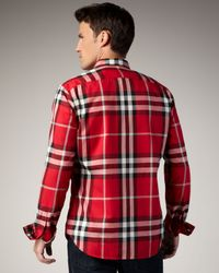 Burberry Brit - Red Check Button-down Sport Shirt for Men - Lyst