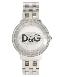 Dolce & Gabbana | Metallic D&g Stone Set Silver Bracelet Watch | Lyst