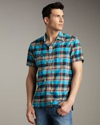 DIESEL | Blue Sukati Plaid Short-sleeve Shirt for Men | Lyst