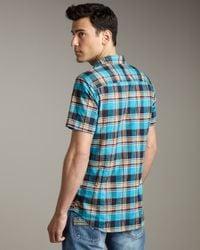 DIESEL - Blue Sukati Plaid Short-sleeve Shirt for Men - Lyst