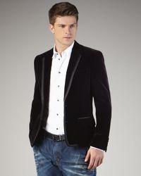 Dolce & Gabbana | Blue Grosgrain-trim Velvet Jacket | Lyst
